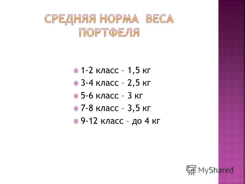 1-2 класс – 1,5 кг 3-4 класс – 2,5 кг 5-6 класс – 3 кг 7-8 класс – 3,5 кг 9-12 класс – до 4 кг