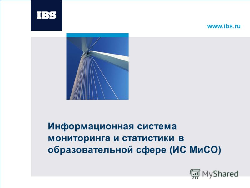 www.ibs.ru Вставьте картинку Информационная система мониторинга и статистики в образовательной сфере (ИС МиСО)