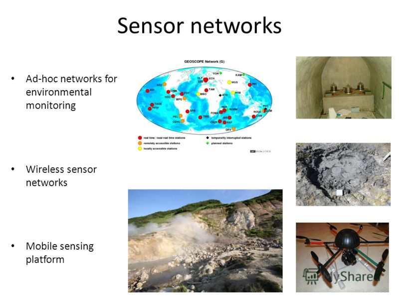 Sensor networks Ad-hoc networks for environmental monitoring Wireless sensor networks Mobile sensing platform