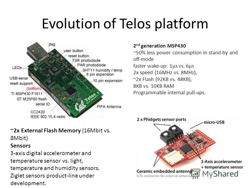 Evolution of Telos platform 2 nd generation MSP430 ~50% less power consumption in stand-by and off-mode faster wake-up: 1µs vs. 6µs 2x speed (16MHz vs. 8MHz), ~2x Flash (92KB vs. 48KB), 8KB vs. 10KB RAM Programmable internal pull-ups. ~2x External Fl