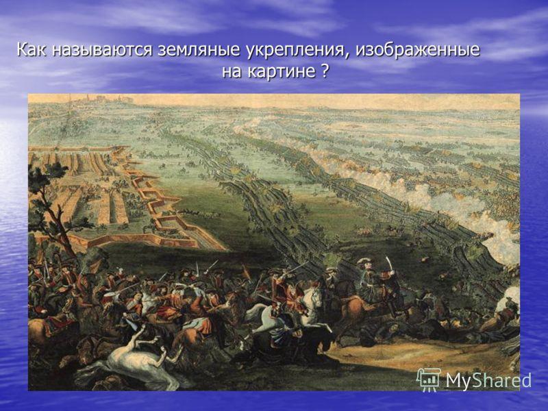 Как называются земляные укрепления, изображенные на картине ?