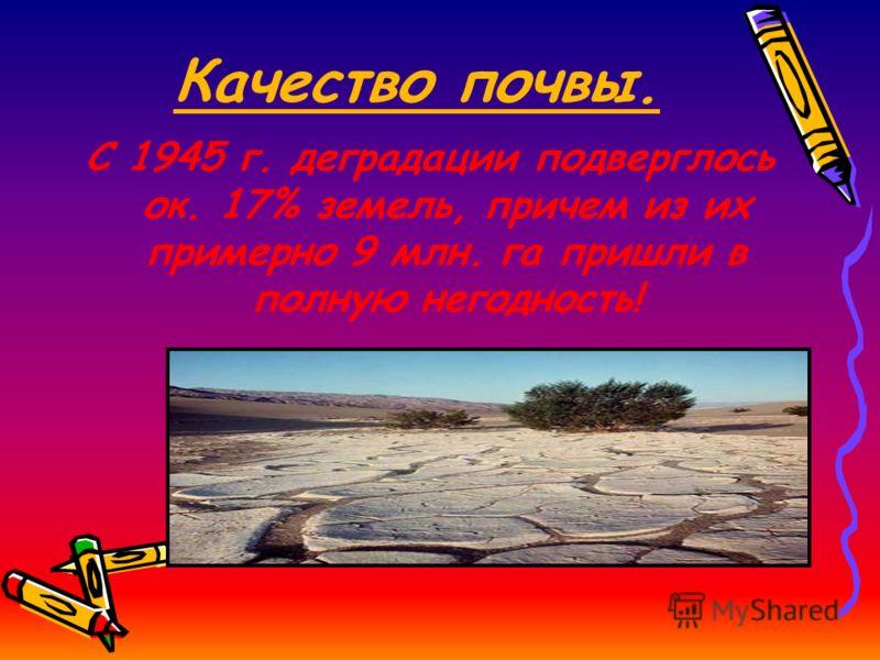 Качество почвы. С 1945 г. деградации подверглось ок. 17% земель, причем из их примерно 9 млн. га пришли в полную негодность!
