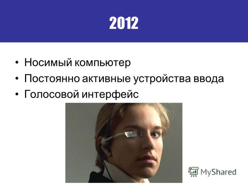 2012 Носимый компьютер Постоянно активные устройства ввода Голосовой интерфейс