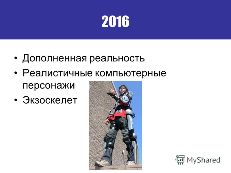 2016 Дополненная реальность Реалистичные компьютерные персонажи Экзоскелет