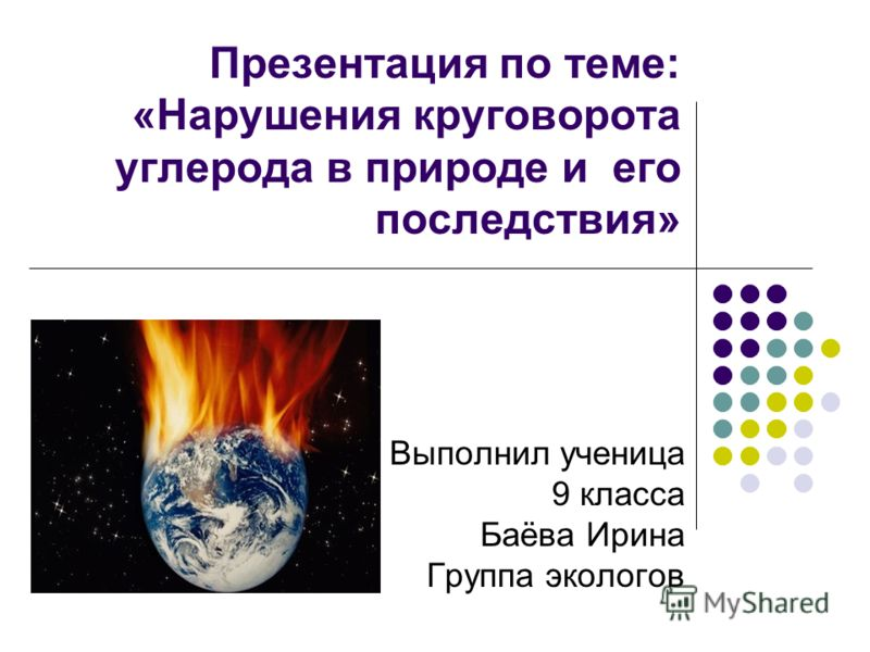 Презентация по теме: «Нарушения круговорота углерода в природе и его последствия» Выполнил ученица 9 класса Баёва Ирина Группа экологов
