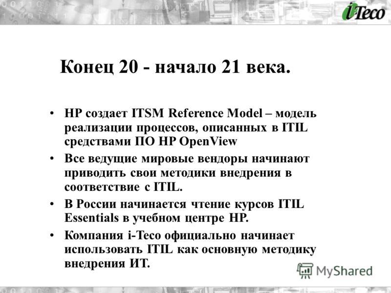 НР создает ITSM Reference Model – модель реализации процессов, описанных в ITIL средствами ПО HP OpenView Все ведущие мировые вендоры начинают приводить свои методики внедрения в соответствие с ITIL. В России начинается чтение курсов ITIL Essentials