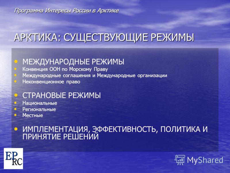 Программа Интересы России в Арктике AРКТИКА: СУЩЕСТВУЮЩИЕ РЕЖИМЫ МЕЖДУНАРОДНЫЕ РЕЖИМЫ Конвенция ООН по Морскому Праву Международные соглашения и Международные организации Неконвенционное право СТРАНОВЫЕ РЕЖИМЫ Национальные Региональные Местные ИМПЛЕМ