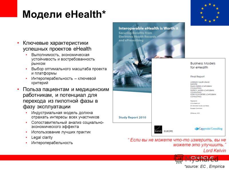 Модели eHealth* Ключевые характеристики успешных проектов eHealth Выполнимость, экономическая устойчивость и востребованность рынком Выбор оптимального масштаба проекта и платформы Интероперабельность – ключевой критерий Польза пациентам и медицински