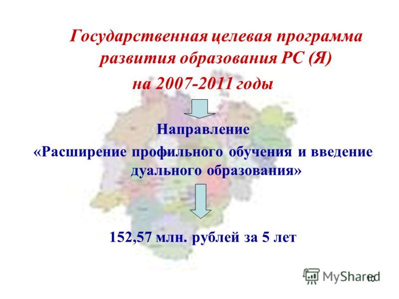 10 Государственная целевая программа развития образования РС (Я) на 2007-2011 годы Направление «Расширение профильного обучения и введение дуального образования» 152,57 млн. рублей за 5 лет