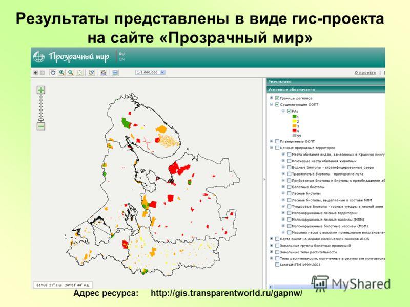 Результаты представлены в виде гис-проекта на сайте «Прозрачный мир» Адрес ресурса: http://gis.transparentworld.ru/gapnw/