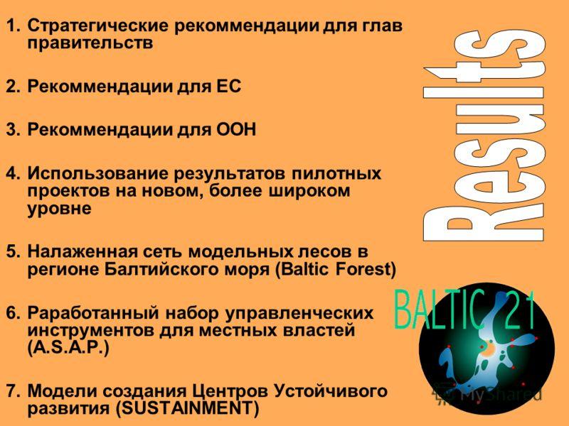 1.Стратегические рекоммендации для глав правительств 2.Рекоммендации для ЕС 3.Рекоммендации для ООН 4.Использование результатов пилотных проектов на новом, более широком уровне 5.Налаженная сеть модельных лесов в регионе Балтийского моря (Baltic Fore