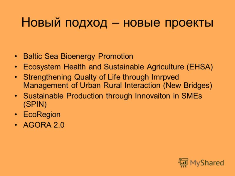 Новый подход – новые проекты Baltic Sea Bioenergy Promotion Ecosystem Health and Sustainable Agriculture (EHSA) Strengthening Qualty of Life through Imrpved Management of Urban Rural Interaction (New Bridges) Sustainable Production through Innovaiton
