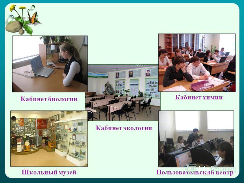 Кабинет биологии Школьный музей Кабинет экологии Кабинет химии Пользовательский центр