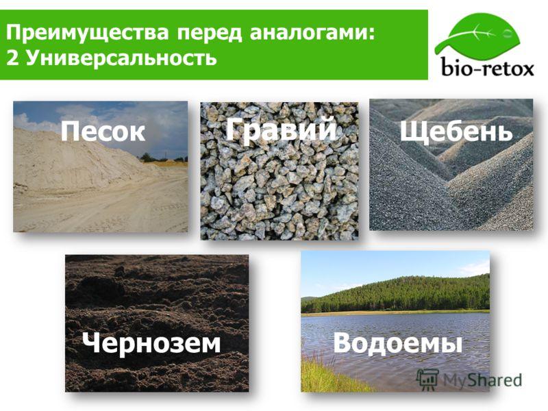 Преимущества перед аналогами: 2 Универсальность ЩебеньПесок Гравий ЧерноземВодоемы