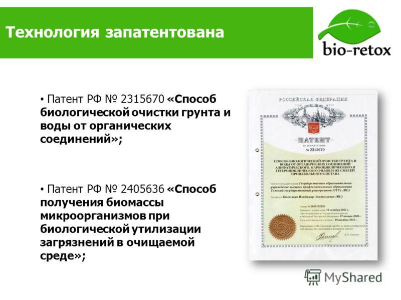 Технология запатентована Патент РФ 2315670 «Способ биологической очистки грунта и воды от органических соединений»; Патент РФ 2405636 «Способ получения биомассы микроорганизмов при биологической утилизации загрязнений в очищаемой среде»;