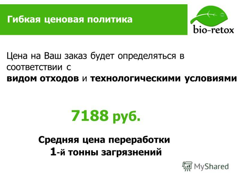 Гибкая ценовая политика Цена на Ваш заказ будет определяться в соответствии с видом отходов и технологическими условиями 7188 руб. Средняя цена переработки 1 -й тонны загрязнений