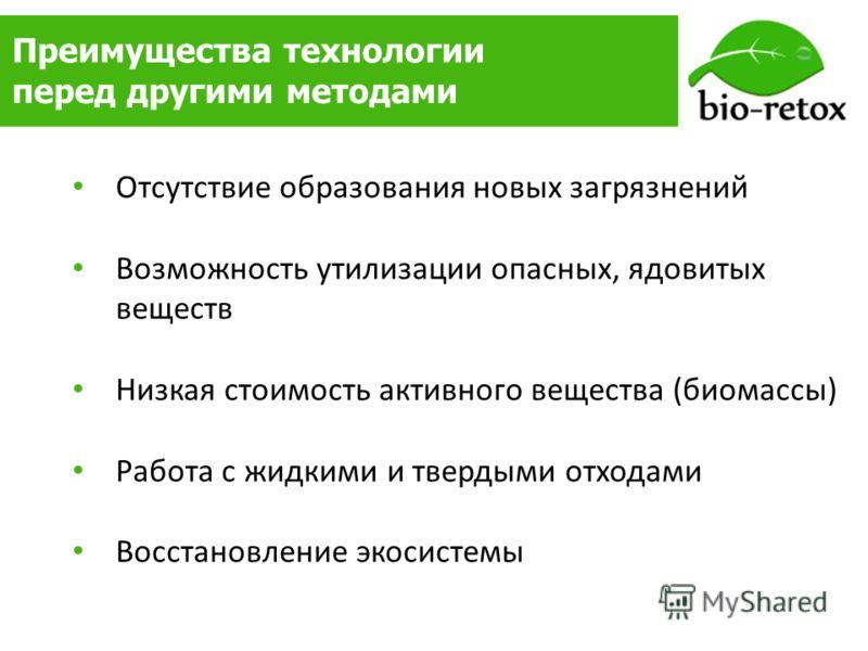 Преимущества технологии перед другими методами Отсутствие образования новых загрязнений Возможность утилизации опасных, ядовитых веществ Низкая стоимость активного вещества (биомассы) Работа с жидкими и твердыми отходами Восстановление экосистемы