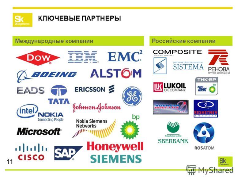 11 КЛЮЧЕВЫЕ ПАРТНЕРЫ Международные компанииРоссийские компании