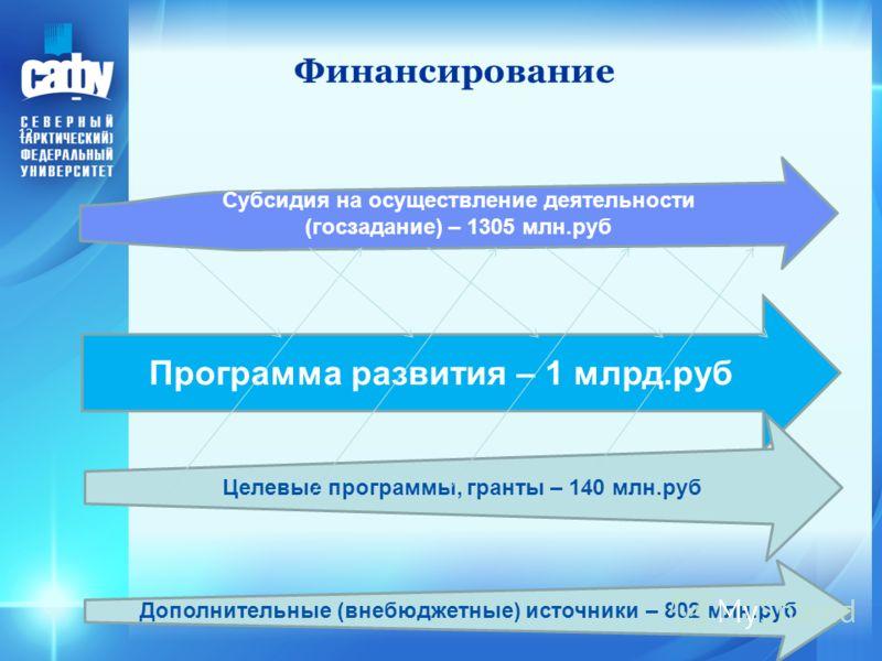Финансирование 12 Субсидия на осуществление деятельности (госзадание) – 1305 млн.руб Программа развития – 1 млрд.руб Целевые программы, гранты – 140 млн.руб Дополнительные (внебюджетные) источники – 802 млн.руб