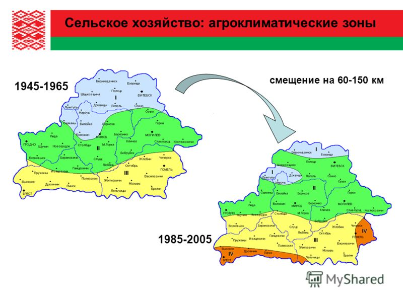 1985-2005 1945-1965 смещение на 60-150 км Сельское хозяйство: агроклиматические зоны