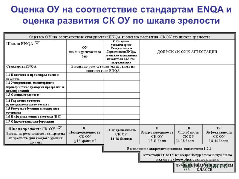 Оценка ОУ на соответствие стандартам ENQA и оценка развития СК ОУ по шкале зрелости