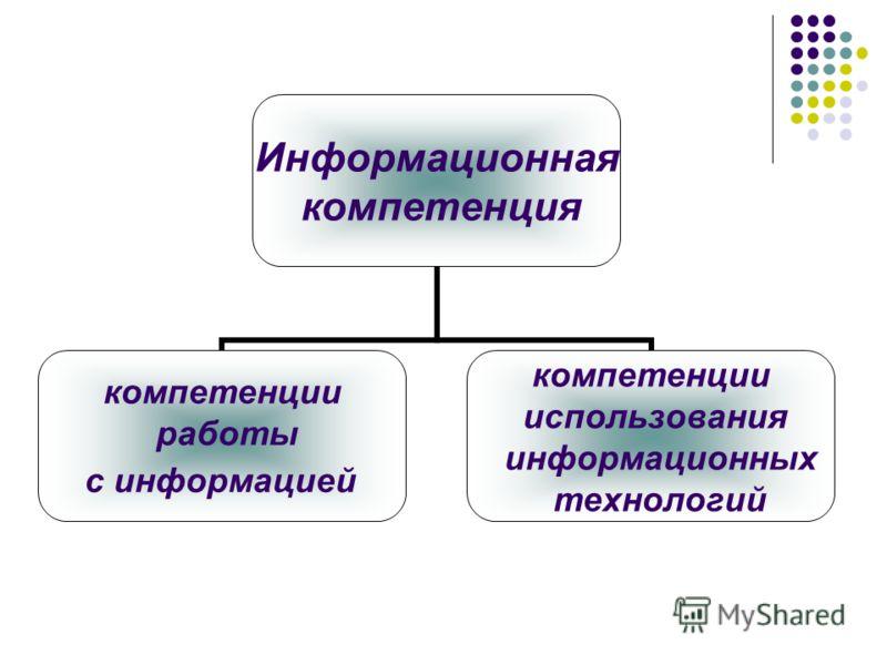 Информационная компетенция компетенции работы с информацией компетенции использования информационных технологий