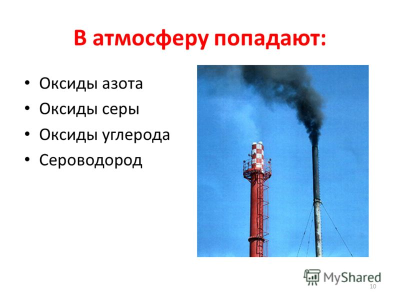 В атмосферу попадают: Оксиды азота Оксиды серы Оксиды углерода Сероводород 10