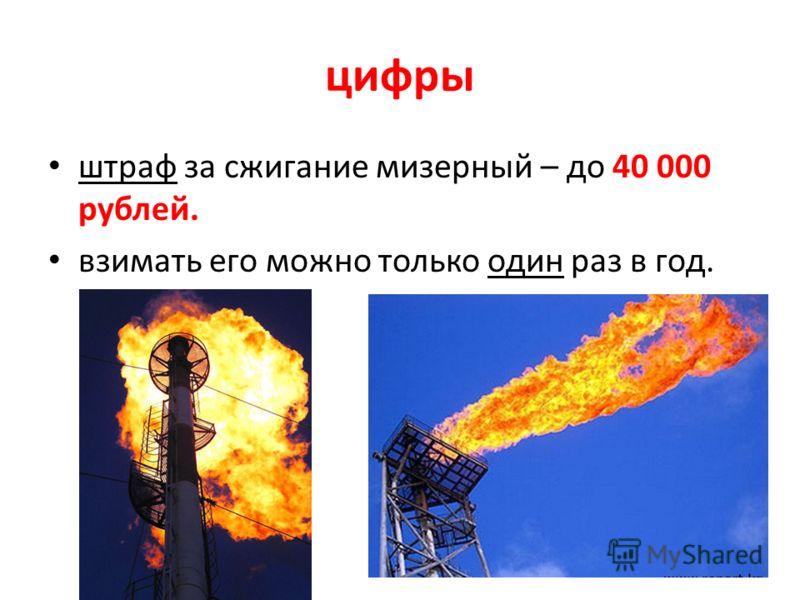 цифры штраф за сжигание мизерный – до 40 000 рублей. взимать его можно только один раз в год. 8
