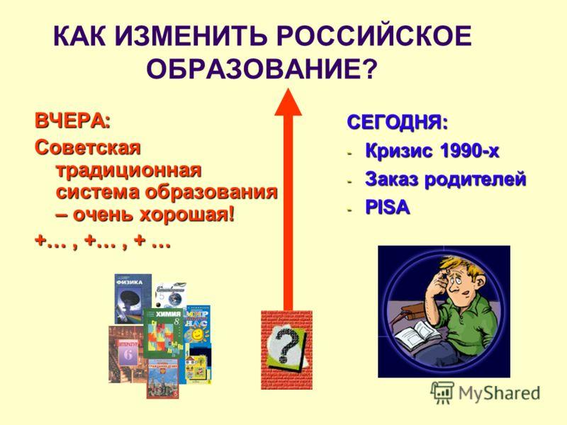КАК ИЗМЕНИТЬ РОССИЙСКОЕ ОБРАЗОВАНИЕ? ВЧЕРА: Советская традиционная система образования – очень хорошая! +…, +…, + … СЕГОДНЯ: - Кризис 1990-х - Заказ родителей - PISA