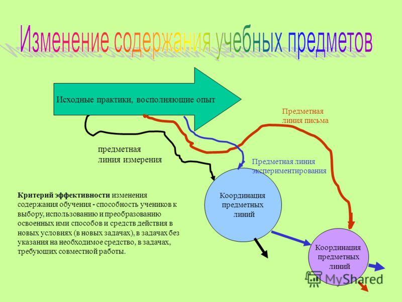 Исходные практики, восполняющие опыт предметная линия измерения Предметная линия письма Координация предметных линий Предметная линия экспериментирования Координация предметных линий Критерий эффективности изменения содержания обучения - способность