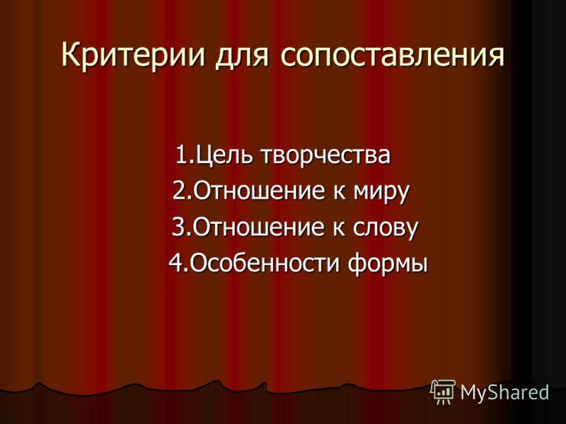 Критерии для сопоставления 1.Цель творчества 2.Отношение к миру 2.Отношение к миру 3.Отношение к слову 3.Отношение к слову 4.Особенности формы 4.Особенности формы