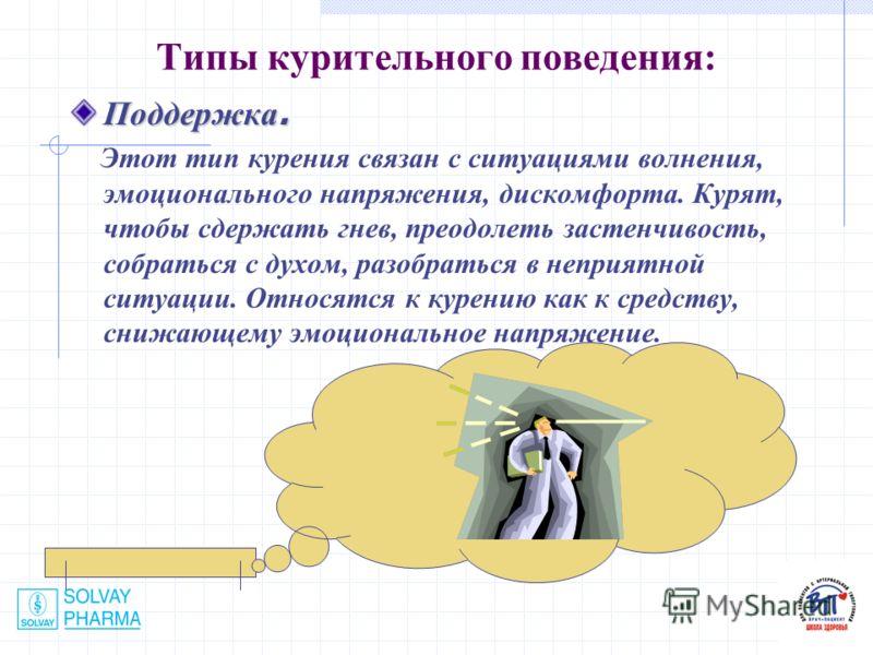Типы курительного поведения: Поддержка. Этот тип курения связан с ситуациями волнения, эмоционального напряжения, дискомфорта. Курят, чтобы сдержать гнев, преодолеть застенчивость, собраться с духом, разобраться в неприятной ситуации. Относятся к кур