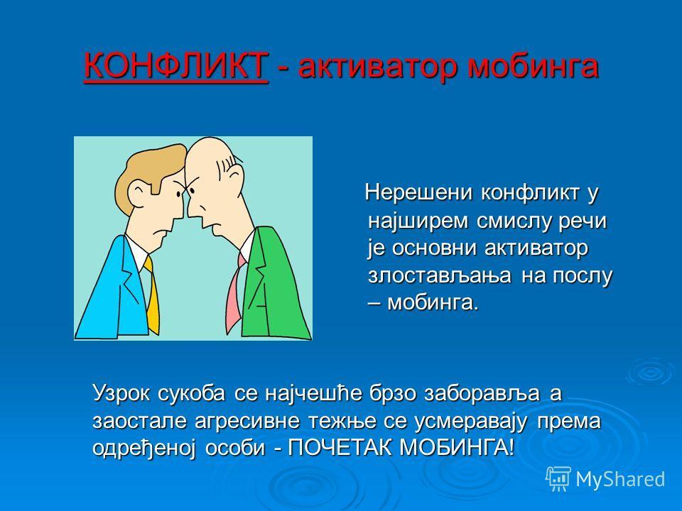 Основни елементи мобинг ситуације 1.Нерешени конфликт као активатор мобинга 2.Непосредни учесници у мобинг ситуацији (злостављач,жртва и група за подршку)
