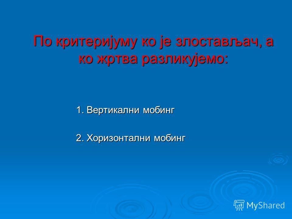 Разврставање мобинга Мобинг се разврстава по основу два критеријума: 1.По критеријуму ко је злостављач, а ко жртва 2.По критеријуму мотива мобинга