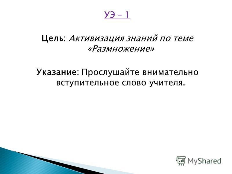УЭ – 1 Цель: Активизация знаний по теме «Размножение» Указание: Прослушайте внимательно вступительное слово учителя.