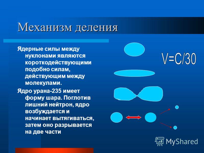 Механизм деления Ядерные силы между нуклонами являются короткодействующими подобно силам, действующим между молекулами. Ядро урана-235 имеет форму шара. Поглотив лишний нейтрон, ядро возбуждается и начинает вытягиваться, затем оно разрывается на две