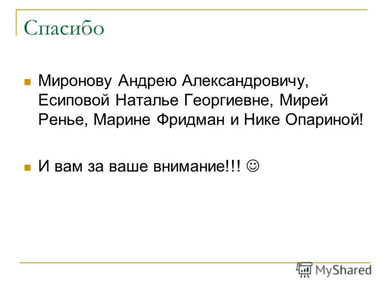 Спасибо Миронову Андрею Александровичу, Есиповой Наталье Георгиевне, Мирей Ренье, Марине Фридман и Нике Опариной! И вам за ваше внимание!!!