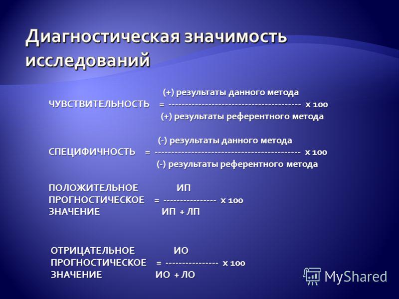 (+) результаты данного метода (+) результаты данного метода ЧУВСТВИТЕЛЬНОСТЬ = ---------------------------------------- х 100 (+) результаты референтного метода (+) результаты референтного метода (-) результаты данного метода (-) результаты данного м