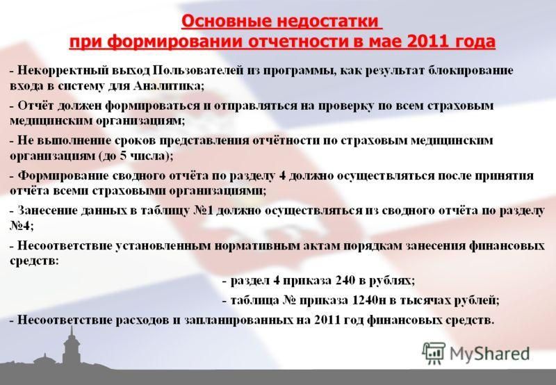 Основные недостатки при формировании отчетности в мае 2011 года