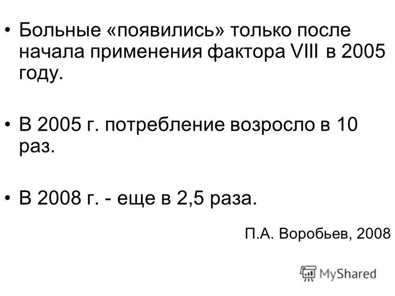 Больные «появились» только после начала применения фактора VIII в 2005 году. В 2005 г. потребление возросло в 10 раз. В 2008 г. - еще в 2,5 раза. П.А. Воробьев, 2008