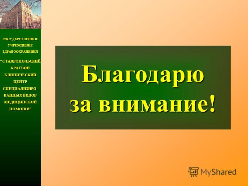 ГОСУДАРСТВЕННОЕ УЧРЕЖДЕНИЕ ЗДРАВООХРАНЕНИЯ СТАВРОПОЛЬСКИЙ КРАЕВОЙ КЛИНИЧЕСКИЙ ЦЕНТР СПЕЦИАЛИЗИРО- ВАННЫХ ВИДОВ МЕДИЦИНСКОЙ ПОМОЩИСТАВРОПОЛЬСКИЙ КРАЕВОЙ КЛИНИЧЕСКИЙ ЦЕНТР СПЕЦИАЛИЗИРО- ВАННЫХ ВИДОВ МЕДИЦИНСКОЙ ПОМОЩИ Благодарю за внимание!