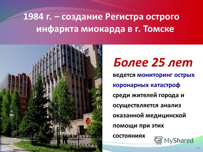 1984 г. – создание Регистра острого инфаркта миокарда в г. Томске Более 25 лет 11 ведется мониторинг острых коронарных катастроф среди жителей города и осуществляется анализ оказанной медицинской помощи при этих состояниях