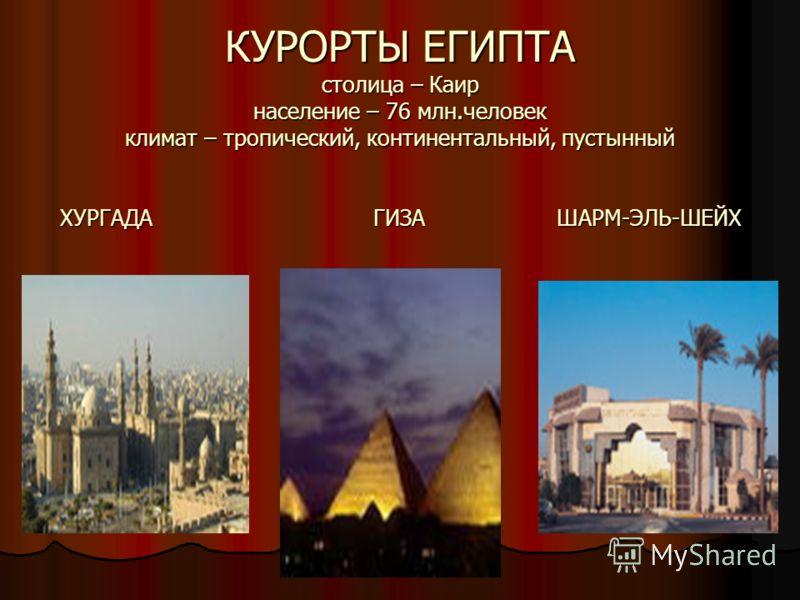 КУРОРТЫ ЕГИПТА столица – Каир население – 76 млн.человек климат – тропический, континентальный, пустынный ХУРГАДА ГИЗА ШАРМ-ЭЛЬ-ШЕЙХ