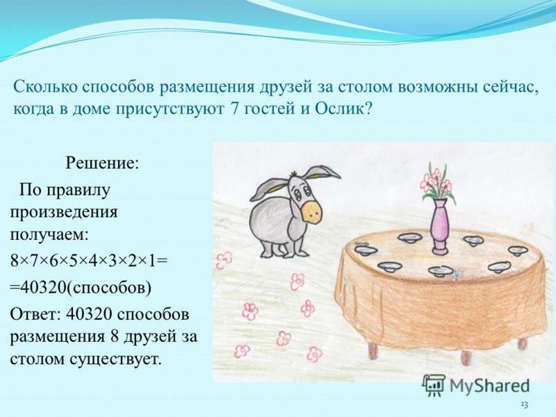Сколько способов размещения друзей за столом возможны сейчас, когда в доме присутствуют 7 гостей и Ослик? Решение: По правилу произведения получаем: 8×7×6×5×4×3×2×1= =40320(способов) Ответ: 40320 способов размещения 8 друзей за столом существует. 13