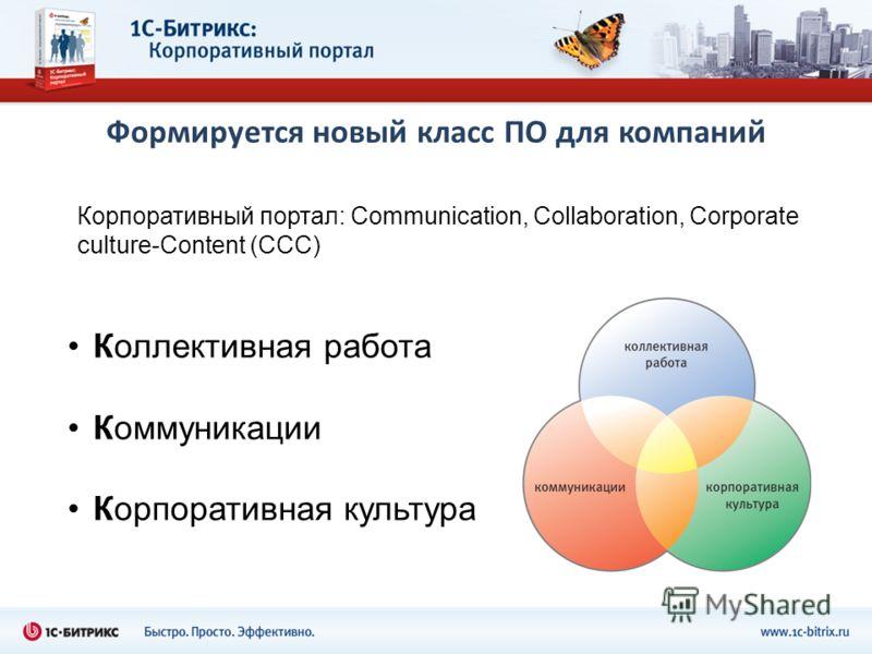 Формируется новый класс ПО для компаний Коллективная работа Коммуникации Корпоративная культура Корпоративный портал: Communication, Collaboration, Corporate culture-Content (CCC)