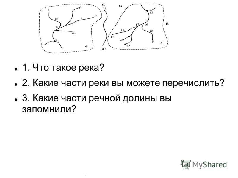 1. Что такое река? 2. Какие части реки вы можете перечислить? 3. Какие части речной долины вы запомнили?