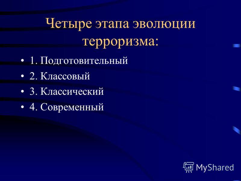Четыре этапа эволюции терроризма: 1. Подготовительный 2. Классовый 3. Классический 4. Современный