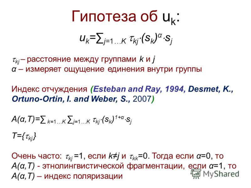 Гипотеза об u k : u k = j=1…K kj (s k ) α s j kj – расстояние между группами k и j α – измеряет ощущение единения внутри группы Индекс отчуждения (Esteban and Ray, 1994, Desmet, K., Ortuno-Ortin, I. and Weber, S., 2007) A(α,T)= k=1…K j=1…K kj (s k )