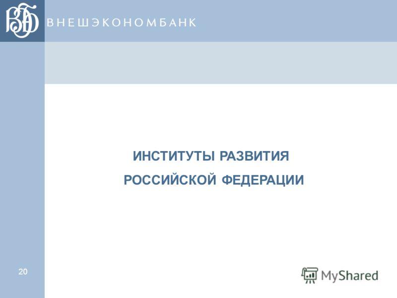 20 ИНСТИТУТЫ РАЗВИТИЯ РОССИЙСКОЙ ФЕДЕРАЦИИ