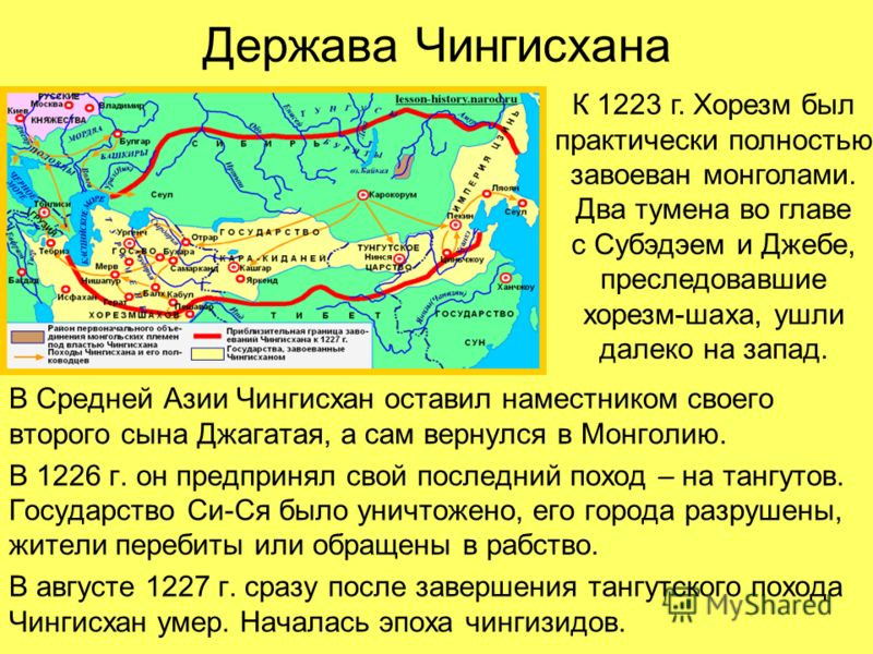 Держава Чингисхана В Средней Азии Чингисхан оставил наместником своего второго сына Джагатая, а сам вернулся в Монголию. В 1226 г. он предпринял свой последний поход – на тангутов. Государство Си-Ся было уничтожено, его города разрушены, жители переб